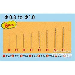 SET 8 PUNTE TRAPANO, 0,3- 1,0 mm